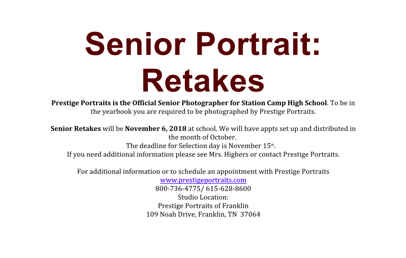 Senior Portrait Retakes